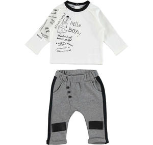 100% cotton t-shirt and trousers with side bands outfit  GREY