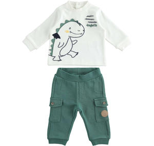 Baby set with comfortable cargo model trousers GREEN