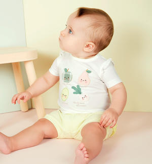 T-shirt and coulotte outfit for baby girl WHITE