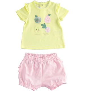 T-shirt and coulotte outfit for baby girl YELLOW