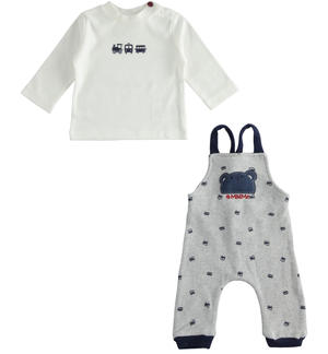 Cotton dungaree and crew neck outfit for newborn boy