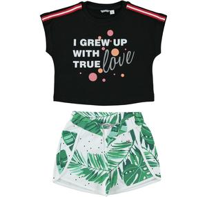 Completo sporty-chic t-shirt e shorts NERO