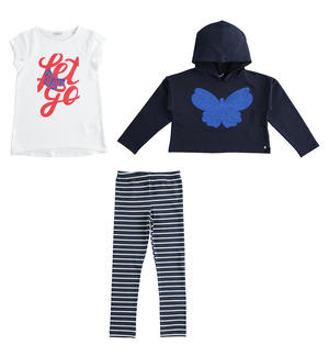 Three-piece outfit sweatshirt, maxi t-shirt and leggings BLUE