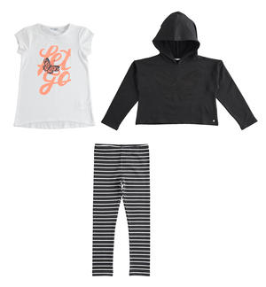 Three-piece outfit sweatshirt, maxi t-shirt and leggings BLACK