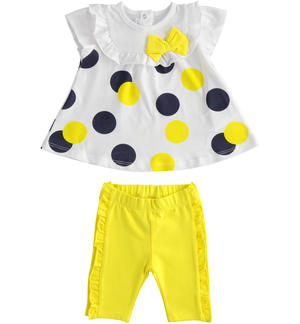 Completo t-shirt a pois e leggings con ruches BIANCO