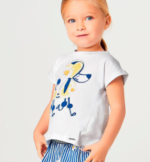 T-shirt with poodle and striped shorts set BLUE