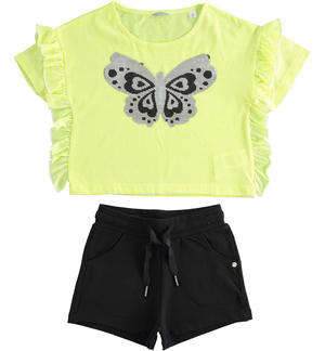 T-shirt outfit with reversible sequin butterfly and shorts