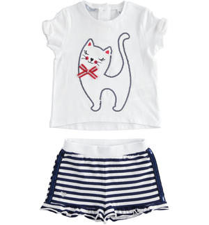 Outfit with t-shirt with kitty and shorts WHITE