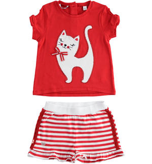 Outfit with t-shirt with kitty and shorts RED