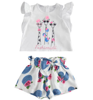 Outfit with-shirt with giraffes and short trousers WHITE