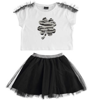 Completo t-shirt con paillettes reversibili e gonna in tulle BIANCO