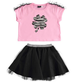 Completo t-shirt con paillettes reversibili e gonna in tulle ROSA