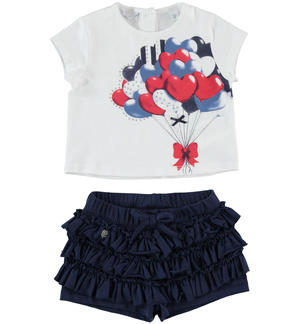 T-shirt outfit with balloons and shorts with flounces BLUE