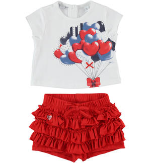 T-shirt outfit with balloons and shorts with flounces RED