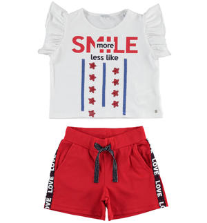 T-shirt outfit with sequin stars and shorts RED
