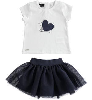 Chic t-shirt and tulle skirt outfit BLUE