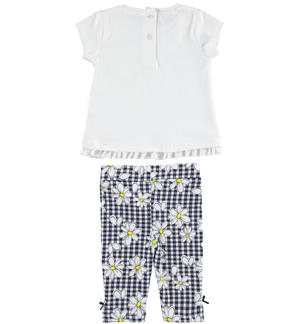 T-shirt and leggings outfit with daisies WHITE