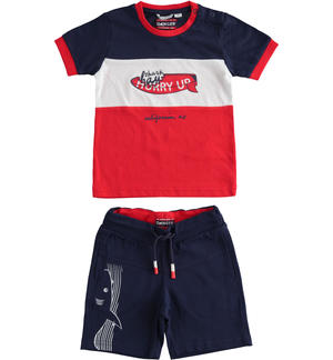 Complete t-shirt and short trousers with shark RED