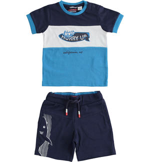 Complete t-shirt and short trousers with shark LIGHT BLUE