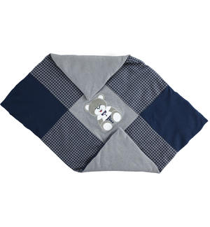 Blanket made of check patterned cut mesh GREY