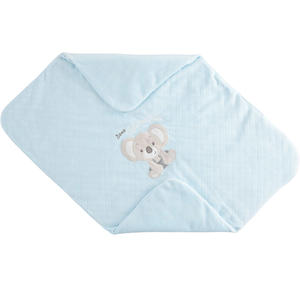 Soft chenille cradle blanket for newborn baby LIGHT BLUE
