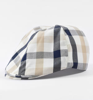 100% cotton flat hat with check pattern BLUE
