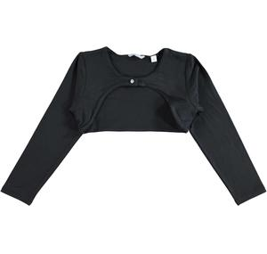 Stretch viscose long sleeved bolero jacket for girls BLACK