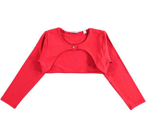 Stretch viscose long sleeved bolero jacket for girls RED