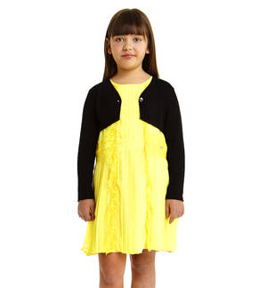 Coprispalle bambina a manica lunga in viscosa stretch NERO