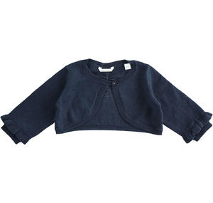 Cotton, viscose and cashmere blend fabric shrug for baby girl BLUE