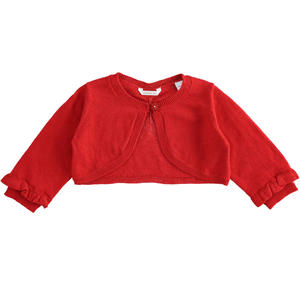 Cotton, viscose and cashmere blend fabric shrug for baby girl RED