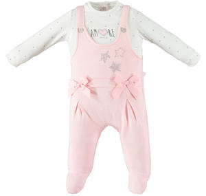 Pretty, romantic, very comfortable baby girl romper in stretch cotton PINK