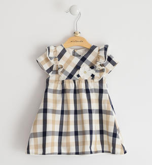 Delicious 100% cotton baby girl dress with check print
