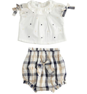 100% cotton poplin delicious two-piece baby girl set