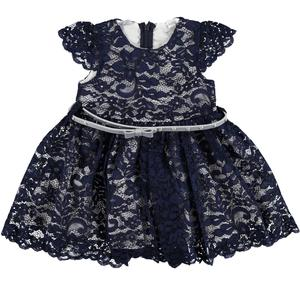 Delightful little dress in refined floral lace for girls BLUE