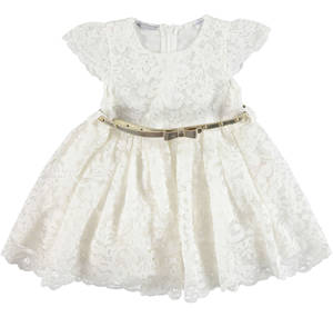 Delightful little dress in refined floral lace for girls CREAM
