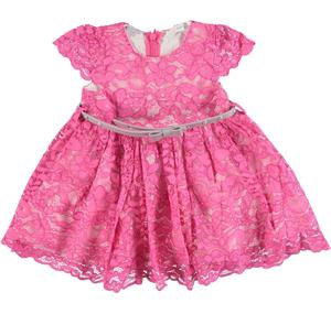 Delightful little dress in refined floral lace for girls PINK