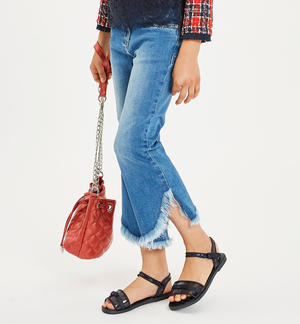 Stretch denim with irregular bottom BLUE