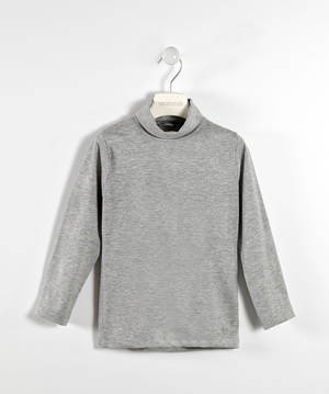 Viscose and lurex jersey blend polo neck  GREY