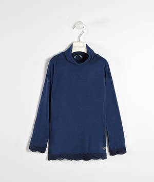 Viscose stretch jersey polo neck with lace  BLUE