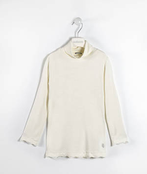 Viscose stretch jersey polo neck with lace  CREAM