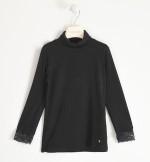 Turtleneck in viscose with lace BLACK