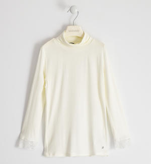 Turtleneck in viscose with lace CREAM
