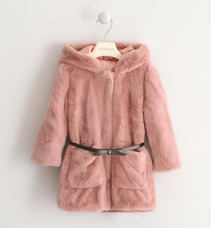 Eco fur Sarabanda with hood PINK