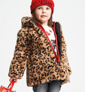 Reversible faux fur with animalier print BEIGE
