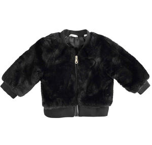 Faux fur without hood BLACK