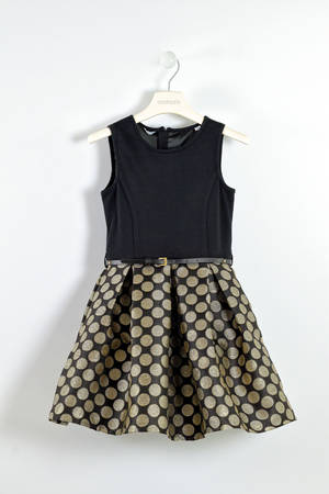 Elegant dress with a lurex polka dot skirt  BLACK