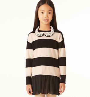 Elegant striped dress with pearl collar  BLACK