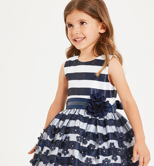 Elegant striped patterned dress with tulle skirt BLUE
