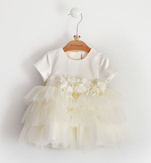 Elegant dress for newborn girl in bridal satin with wide tulle skirt